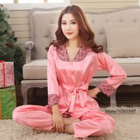 Wholesale China Clothing Wholesalers Silk - Wholesale- 2017 Spring Summer Fall Women China Satin Silk Pijamas Sets of Sleepcoat & Shorts Lady Nightdress Female Home Clothing Sleepwear