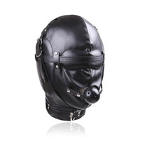 Wholesale Locking Hood Leather - BDSM Bondage Leather Hood for Adult Play Games Full Masks Fetish Face Locking Blindfold for Sex