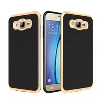 Wholesale E5 Phones - Fashion Wire Drawing Hybrid Armor Case For Samsung Galaxy Note 3 4 5 G530 G550 G360 On5 On7 Z3 E5 A8 2016 Cell Phone Case Cover