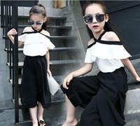 Wholesale Chiffon Girls Pants - Lovely Cute White Chiffon Outfits Shouler Off White Tops + Black Loose Pant 2Pcs Casual Clothing Cool Sets Size 110-160cm Children SET