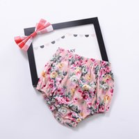 Wholesale Style Underpants Pants Girls - Infant Bottoms Baby Bloomers Girls Pettiskirt underwear Flower Underwear Panties Toddle Kids Underpants Newborn Floral Satin PP Pants A6768