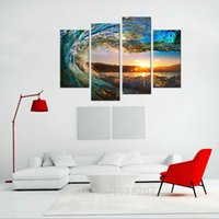 Wholesale Abstract Waves Painted Walls - 4 Pieces Rolling Wave Painting Seascape Canvas Painting Wall Art Picture Print Giclee Artwork with Wooden Framed For Home Decor to Hang