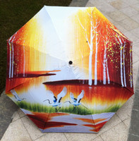 Wholesale vincent van gogh abstract - Vincent Van Gogh fishing boat sun rain Umbrella 3 Fold Anti UV fashion hot selling abstract art crane parasols