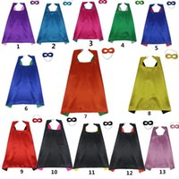 Double couche Cape + Mask 2 pcs = 1 set 2 couleurs différentes côtés 11colours 70 * 70c m Capes for Kids Costumes Costume Halloween Costume Halloween