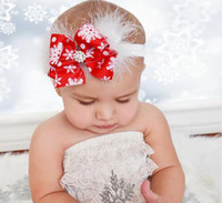 Wholesale Snow Headband Flower - NEW ARRIVAL Kids Christmas Headband Feather Bow Snow Flower Hair Band Girls kids Headwear Merry Christmas Hair Accessories.8pcs\