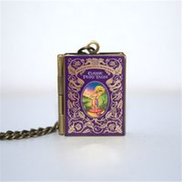 Wholesale Book Links - 12pcs Classic Fairy Tales book Locket Necklace, Bronze tone