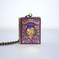 Wholesale fairy books - 12pcs Classic Fairy Tales book Locket Necklace, Bronze tone