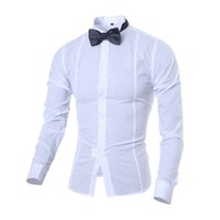 Wholesale Men S Solid Bow Ties - Wholesale- New 2017 Spring Autumn Cotton Dress Shirts High Quality Mens Solid color Casual Shirt Fashion Men Slim Fit A bow tie Shirts