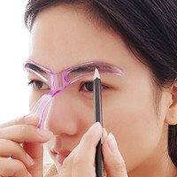 Wholesale eye make up stencil - Wholesale- Women's Reusable Eyebrow Stencils Shaping Grooming Eye Brow Make Up Template Random Color