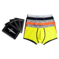 Wholesale Mens Patterned Briefs Underwear - Mens Boxer Underpants Solid Color Brand Box Packed 95% Cotton Comfortable Breathable Man Underwear New Series Boxer Briefs Letter Pattern