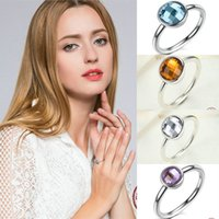 Barato Pedras Genuínas Da China-Poetic Droplet Genuine 925 anéis de prata esterlina com Clear 3A CZ Stone Promise Engagement Wedding Rings for Women Valentine's Day Gift