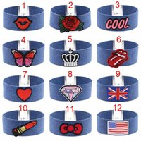 Blue Denim Broderie Choker Collier Collier Rose Cool Heart Diamant Drapeau National Couronne Papillon motif Charm Collars Bijoux Cadeau