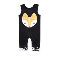 Wholesale Head Brand Baby - 2017 Baby Summer Rompers Infant Toddlers Fox Head Print Onesies Jumpsuit Baby Boys Girls Sleeveless Climb Rompers Free Shipping