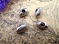 perles à gros trous achat en gros de-36PCS, Breloque perle de football, Rugby, Perle de grand trou pour curseur de sport, Perle européenne, Fourniture de bijoux, 14 * 9 * 7MM, Trou 4,7MM