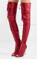 seda de mujer alta al por mayor-2017 mujeres atractivas sobre la rodilla botas altas mujeres muslo de seda botas altas gladiador sandalias botines con cordones zapatos de mujer botas de fiesta