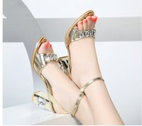 Wholesale Thick Silver Ribbon - Hot Selling Genuine sheepskin Leather high-heeled sandals female shallow diamond thick heel women's sexy high heels for women's shoes
