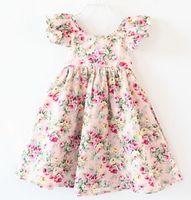 Wholesale Kids Flower Suspenders - Girls dresses summer new children floral printed fly sleeve dress kids cotton A-line dress girls flowers suspender princess dress A0524