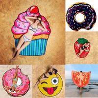 Wholesale Design Pizza - 18 Designs Round Beach Towel Pizza Hamburger Skull Ice Cream Strawberry Smiley Emoji Pineapple Watermelon Shower Towel Blanket Shawl
