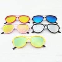 Wholesale boy tablet - Fashion Stylish children Boys Girls Sunglass Full Frame glasses Colorful mercury tablets Baby Anti-ultraviolet sunglasses 41 colors C1917
