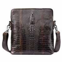 Wholesale Bag Mens Cowhide - New Mens Messenger bags First Layer Cowhide Genuine Leather Bags Alligator Pattern Business Casual Cross Body shoulder bag free shipping