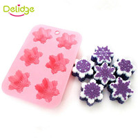 Wholesale Handmade Snowflake - Delidge 10 pc 6 Holes Snow Shape Soap Mold Silicone Snowflake Handmade Chocolate Mold DIY Baking Cake Pudding Maker Tools