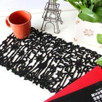 Wholesale Black Cutting Mat - Wholesale- yazi 4PCS Black Reindeer Flower Laser Cut Out Felt Placemats Insulation Household Dining Party Decor Table Mats