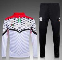 Wholesale Black Men Wearing Suits - 2017 Thai quality Palestine survetement football tracksuits training suits 2017 soccer jacket Long pants sports wear soccer sets