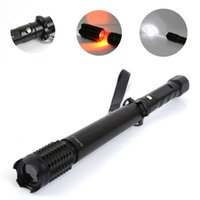 Wholesale Tactical Led Strobe - 2000lm CREE Q5 LED Flashlight Zoom Spiked Mace Baseball Bat Torch Long Lamp Security Led Torch Light 3Mode Torchlight Alarm Strobe