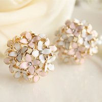 Wholesale Cloves Flower - Pink Blue Flower Four Leaf Stud Earrings Clove Designer New 2015 Spring pendientes Brincos for Womens E2041