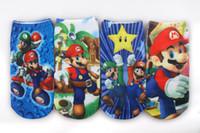 erkek çocuk 3d çorap toptan satış-Çocuklar 3D baskı çorap pamuk bebek kız ve erkek çorap karikatür Mario çorap C1726