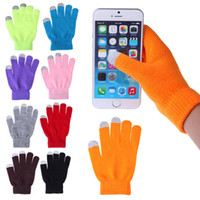 Wholesale Colorful Cotton Gloves - Fashion Christmas Colorful Winter warm touch glove Cotton capacitive screen conductive gloves for iphone 7 6 6S plus S7 S6 edge ipad Air
