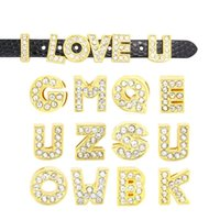 DIY Bracelets 8MM Loose Beads A to Z Letters Beads Ouro Lotes Rhinestone Acessórios Jóias Slide Pulseira Charm Letter