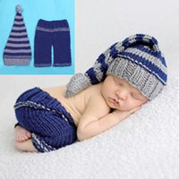 Wholesale Crochet Hat Long Tail - Baby Photography Props Beanies Costume Crochet Outfit Knitted Infant Long Tail Hat With Pants Children Clothing 2017 BP030
