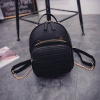 Wholesale Trend Girls Bag - Wholesale- 2017 Spring & Summer Trend Women's Cat Backpacks Girls' Fashion Bag Travel PU leather Bags Students' Backpacks
