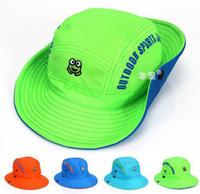 Wholesale Children Cap Hat Frog - Wholesale 10 pcs Unisex Child Dome Bucket Hats Baby Frog Design Fisherman Caps Spring Summer Outdoors Sun Protective Beach Hat MZ4520