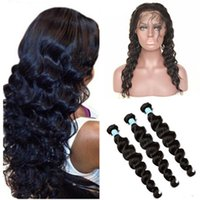 Wholesale Loose Deep Bundles - Brazilian Loose Deep Wave 360 Lace Band Frontal Closure With Bundles 8A Loose Wave Virgin Human Hair With Full Frontal 360 Lace Closure