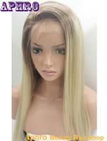 Wholesale Premium Lace Front - Premium Glueless Full Lace Ombre Blonde Human Hair Wigs 130% Density Blonde Virgin Hair Front Lace Wigs With 4*4in Silk Top For White Women