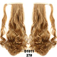 Wholesale Wholesale Fake Hair Ponytail - Wholesale-Long Curly Blonde Ponytail Hair Extension Synthetic Hair Ponytail Fake Hair Ponytails With Clips Natural Ponytail-hairpieces