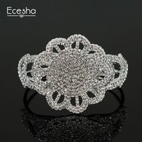 Wholesale Crystal Flower Bangle Cuff - Ecesha Big Exaggerate Flower Floral Wedding Maxi Bangles Bracelets Women CZ Crystal Love Bracelet Manchette Wrist Joyas Pulseras