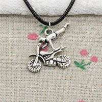 Wholesale Cord Necklace 25 - 15pcs New Fashion Antique Silver Charms motorcycle motorcross 25*25mm Pendant Necklace Black Leather Cord Hand made Jewlery Necklace