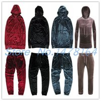 Wholesale Hoodies Sweatshirts Free Shipping - Wholesale- 2017 Men Women Hip Hop Velour Velvet Pullover Tracksuit Kanye Hoodie Pants Joggers Streetstyle Sweatshirt Casual Free shipping