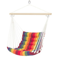 Wholesale Indoors Hammock - Deluxe Padded Cotton Hammock Hanging Chair Indoor Outdoor Use Rainbow Multicolor