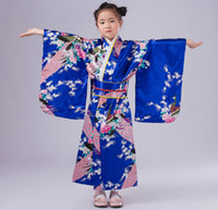 Wholesale Peacock Dance Dress - Child Silk Print Floral Peacock Dress Robes 2017 Japanese Girls Kimono Children Portray Kids Perform Dance Costumes