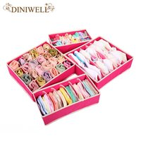 Wholesale 4PCS Storage Boxes For Ties Socks Shorts Bra Underwear Divider Drawer Lidded Closet Home Organizer ropa interior organizador