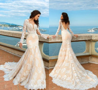 Wholesale Mermaid Fit Backless Dress - 2017 Champagne Mermaid Lace Wedding Dresses Long Sleeves Beach Boho Elegant Backless Fitted Sweetheart Bridal Gowns with Sweep Train