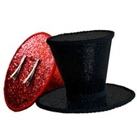 Wholesale Gothic Top Hats - Burlesque Gothic Glitter Mini Top Hat Pure Color Tilt Party Church Millinery Base Hair Clips A150