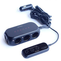 Wholesale Sensor Charger - 3 port Three Way Car Cigarette Lighter Socket outlet Adapter Splitter USB Car Charger with Touch Sensor Power Switches & Display