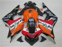 Wholesale Cbr Body Parts - Injection body parts fairing kit for Honda CBR600RR 07 08 orange black fairings set CBR 600RR 2007 2008 YT35
