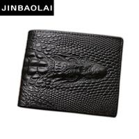 Wholesale Craft Crocodiles - Wholesale- JINBAOLAI alligator top cow genuine leather wallets for men 2017 Crocodile pattern Exquisite craft fashion design men wallets