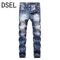 jeans de moda británica al por mayor-Al por mayor-Estilo británico Diseñador de los hombres Jeans de alta calidad de la manera arrancó los pantalones vaqueros para hombres angustiados pantalones marca Jeans Men Color azul